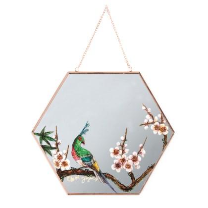 화조화-거울 위 새