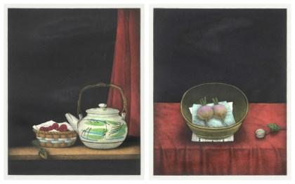 a. Cherries and Teapot b. Onion Still Life