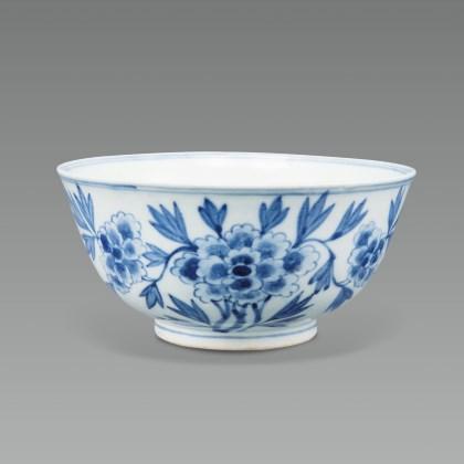 White Porcelain Bowl with Peony Design in Underglaze Cobalt Blue