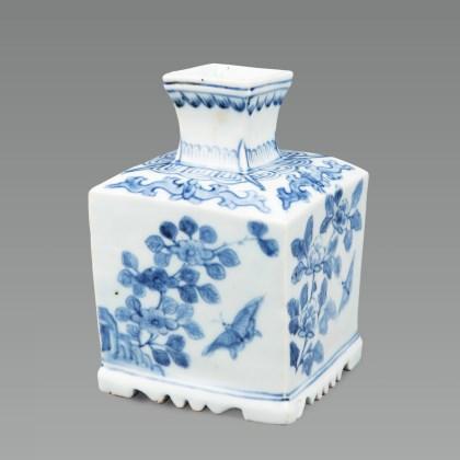 White Porcelain Bottle with flower and butterfly design in Underglaze Cobalt Blue