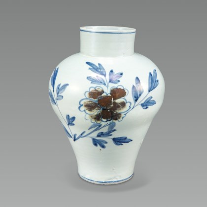 White Porcelain Jar with Peony Design in Underglaze Cobalt Blue and Copper