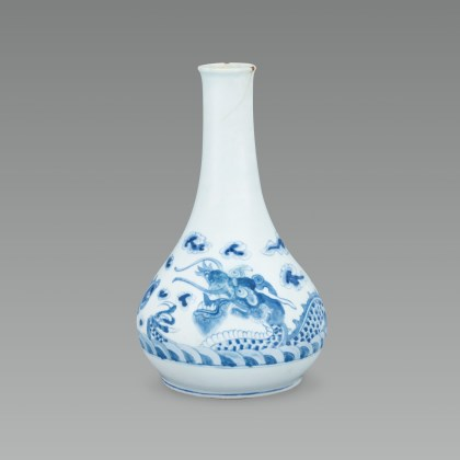 White Porcelain Bottle with Cloud and Dragon Design in Underglaze Blue