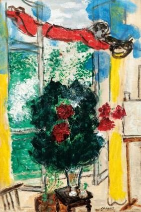 Fleurs Rouges à la Fenêtre