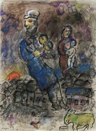 Violoniste et Maternité au-dessus des Toits