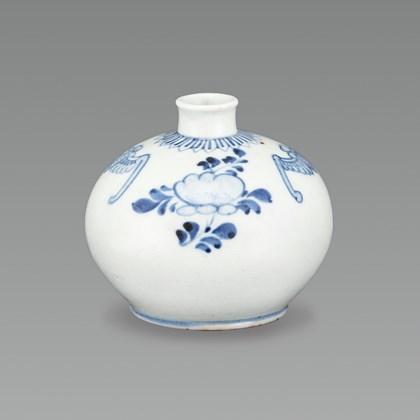 White Porcelain Oil Bottle with Bat and Floral Design in Underglaze Cobalt Blue