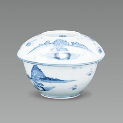 White Porcelain Case with Landscape Design in Underglaze Cobalt Blue