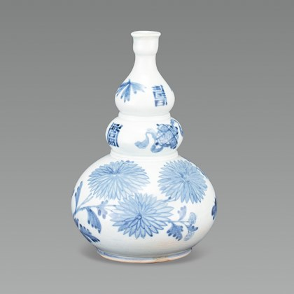 White Porcelain Bottle with Butterfly, Flowers and Seven Treasures Motif in Underglaze Cobalt Blue