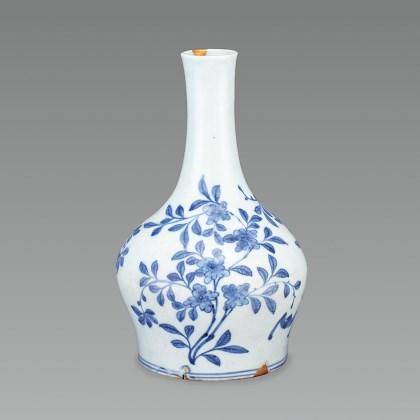 White Porcelain Bottle with Bat and Floral Design in Underglaze Cobalt Blue