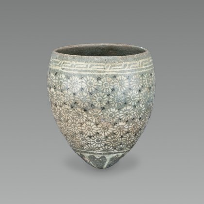 Celadon Cup with Chrysanthemum Inlaid Design