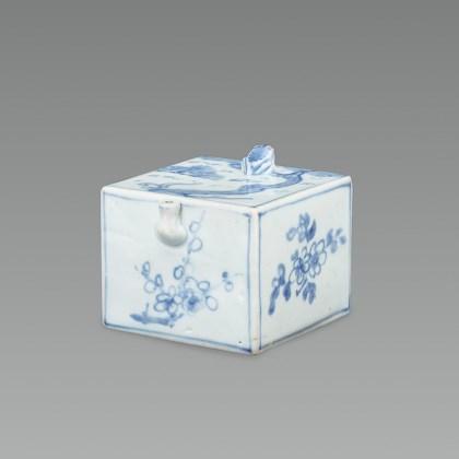 White Porcelain Water Dropper with Landscape Design in Underglaze Cobalt Blue