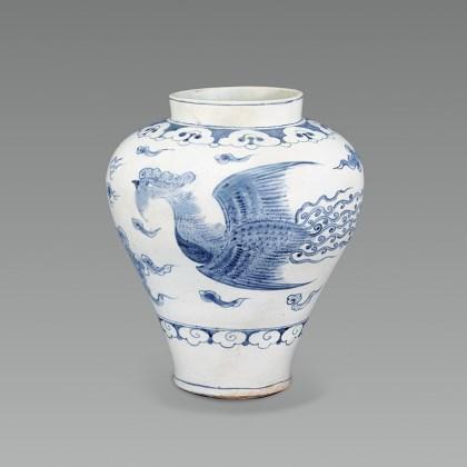 White Porcelain Jar with Phoenix Design in Underglaze Cobalt Blue
