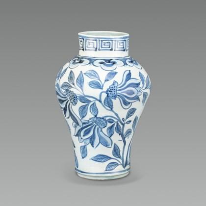 White Porcelain Jar with Grass Design in Underglaze Cobalt Blue